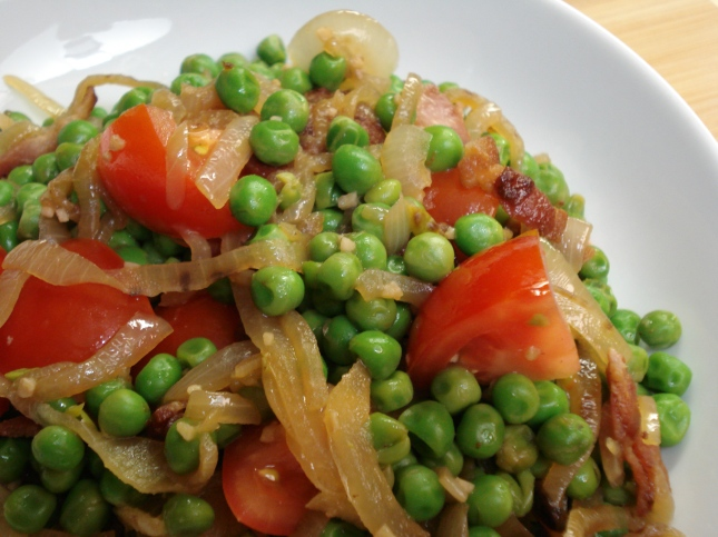 Peas, Bacon and Tomatoes