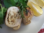Stuffed Turkey Cutlet cut in half to see mushrooms